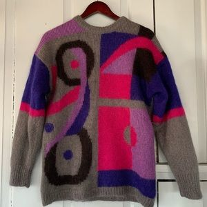 Vintage Colorblock Intarsia Mohair Blend Sweater